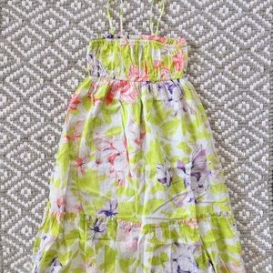 Green Purple Pink Floral Ruched Ruffle Dress